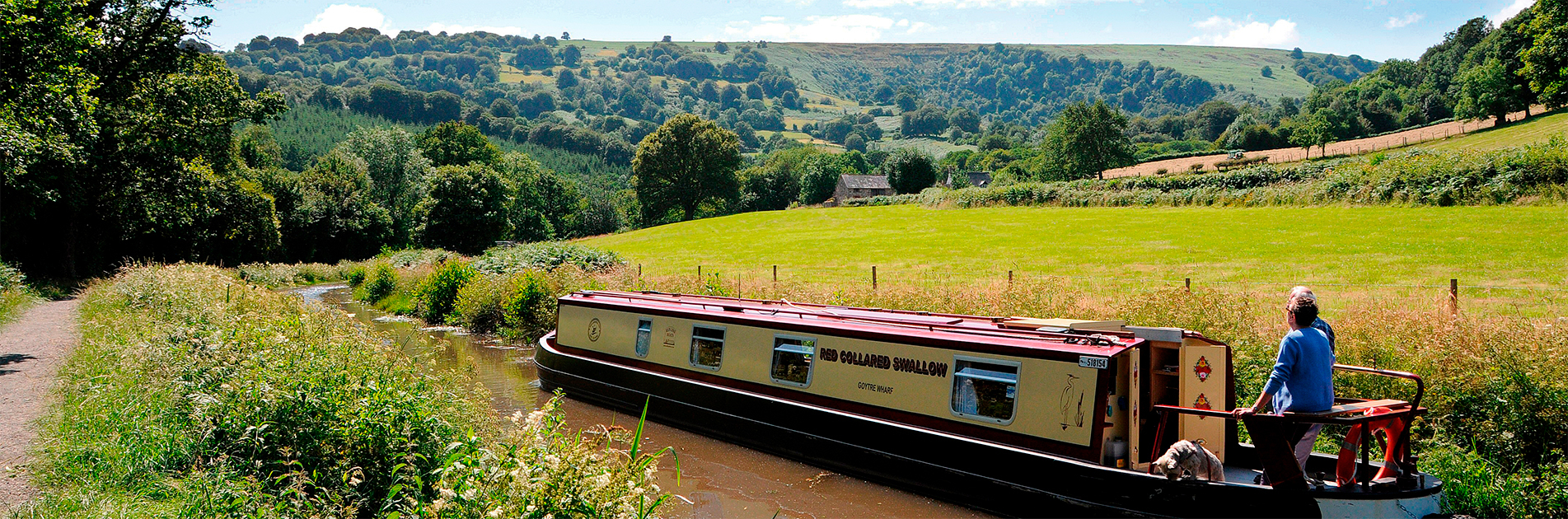 Narrowboat in the Welsh countryside