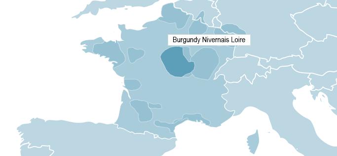 Map of Burgundy - Nivernais Loire