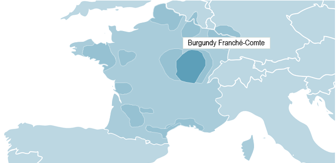 Map of Burgundy - Franche-Comté